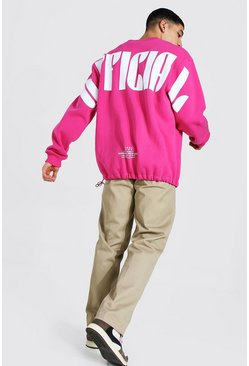 Oversized Official Print Bungee Sweatshirt, Pink