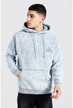Pale blue Oversized Official Print Distressed Hoodie