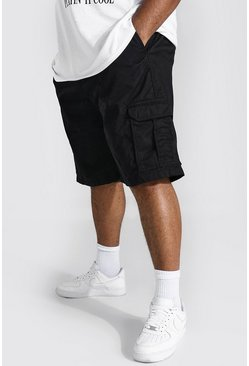 Black Plus Fixed Waistband Cargo Short