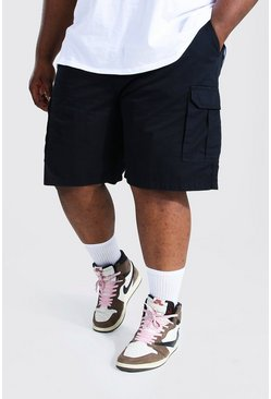 Black Plus Elastic Waist Cargo Short