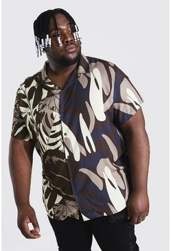 Brown Plus Size Short Sleeve Revere Viscose Shirt