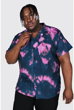 Navy Plus Size Short Sleeve Revere Tie Dye Shirt