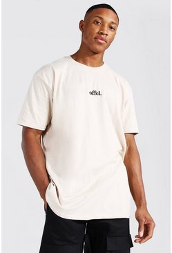 Sand Oversized Official Embroidered T-shirt