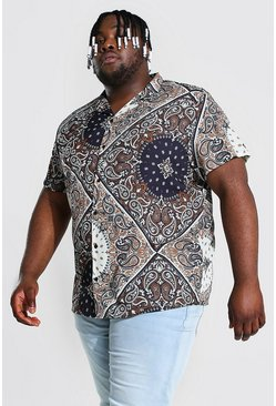 Ecru Plus Size Short Sleeve Revere Bandana Shirt