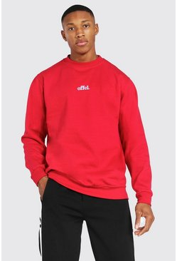 Red Oversized Official Embroidered Sweatshirt