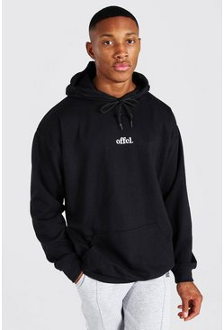 Black Oversized Official Embroidered Hoodie