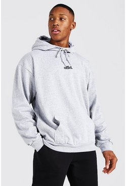 Ash grey Oversized Official Embroidered Hoodie