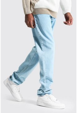 Tall Straight Leg Jeans mit Saum in Destroyed-Optik, Hellblau
