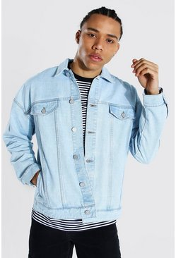 Light blue Tall Boxy Fit Distressed Denim Jacket