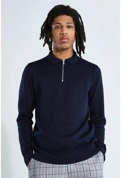 Navy Tall Long Sleeve Half Zip Knitted Polo