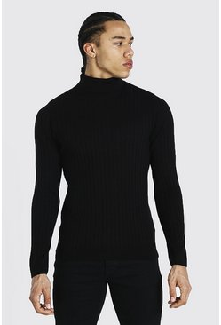 Black Tall Muscle Fit Ribbed Roll Neck Sweater