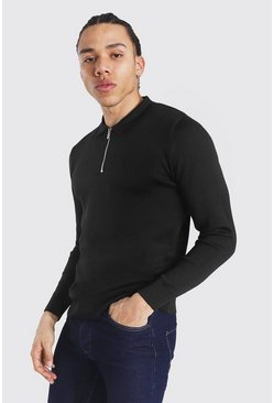 Black Tall Long Sleeve Half Zip Knitted Polo
