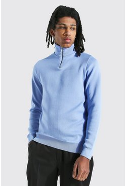 Dusty blue Tall Half Zip Funnel Neck Sweater