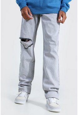 Ice grey Tall Straight Leg Jean WIth Exploded Knee
