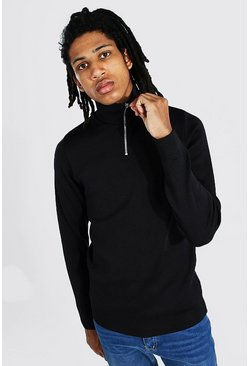 Black Tall Half Zip Funnel Neck Sweater