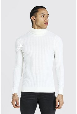 Cream Tall Muscle Fit Ribbed Roll Neck Sweater