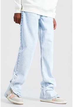 Ice blue Tall Straight Leg Popper Hem Jean