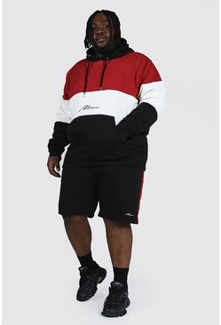 Red Plus Man Script Colour Block Short Tracksuit