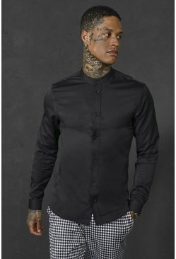 Black Slim Fit Grandad Collar Long Sleeve Shirt