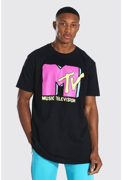 Black Oversized Mtv License T-shirt
