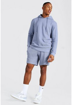 Blue Pique Hooded Short Tracksuit