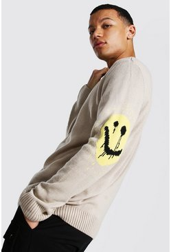 Grey Tall Drip Face Oversized Crew Neck Sweater