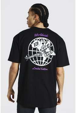 Black Tall Worldwide T-shirt With Back Print
