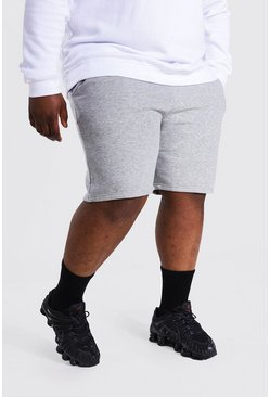 Grey marl Plus Jersey Shorts With Man Draw Cords