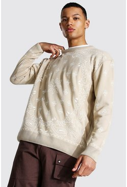 Stone Tall Oversized Bandana Crew Neck Jumper