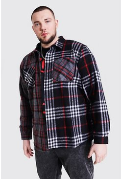 Charcoal Plus Size Spliced Contrast Check Shirt