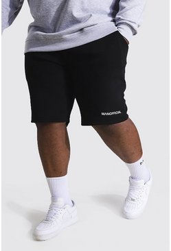 Black Plus Man Waistband Slim Mid Jersey Shorts