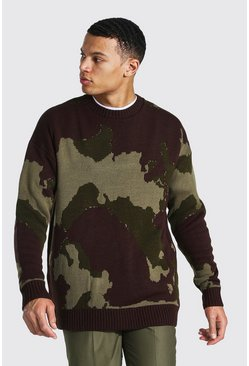 Khaki Tall Abstract Camo Oversized Knitted Sweater
