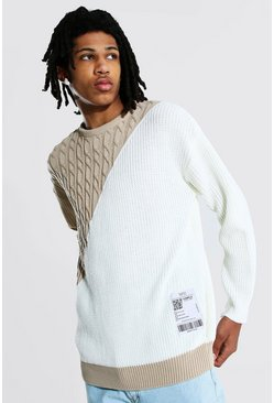 Ecru Tall Man Spliced Sweater With Woven Label