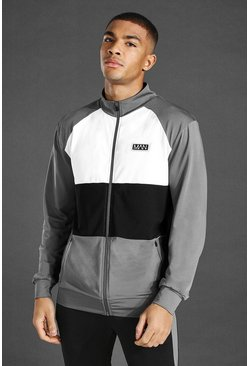 Charcoal Man Active Funnel Neck Zip Through Track Top