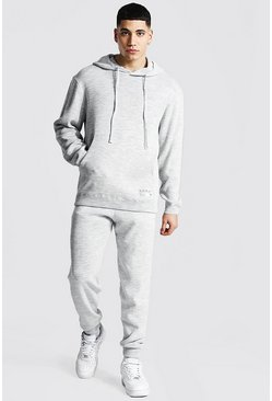 Grey marl Man Knitted Hoodie & Jogger Tracksuit