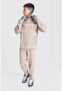 Man Knitted Hoodie & Jogger Tracksuit, Taupe