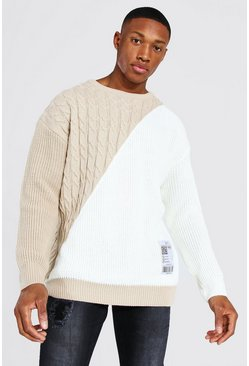 Ecru Man Cable Spliced Jumper With Woven Label
