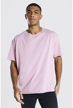 Light pink Oversized Short Sleeve Raw Hem T-shirt