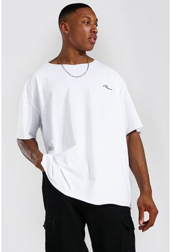 White Oversized Man Signature Raw Hem T-shirt