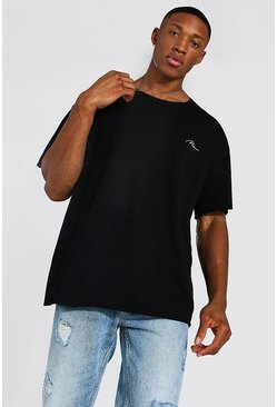 Black Oversized Man Signature Raw Hem T-shirt