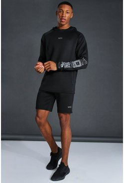 Black Man Active Graphic Hoodie Short Tracksuit