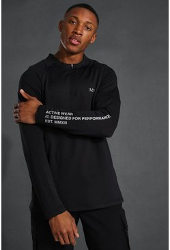 Black Man Active Raglan Crew Neck Zip Top