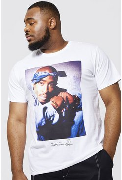 White Plus Size Tupac Bandana License T-shirt