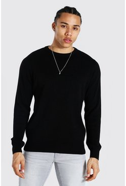Black Tall Basic Crew Neck Sweater