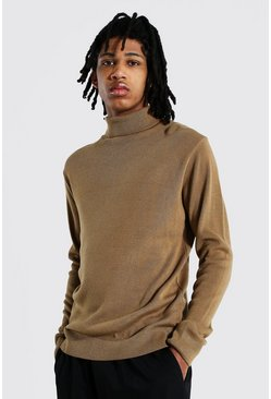 Camel Tall Roll Neck Jumper