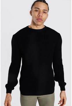 Black Tall Crew Neck Fisherman Rib Jumper