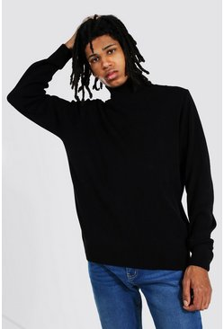 Black Tall Roll Neck Sweater