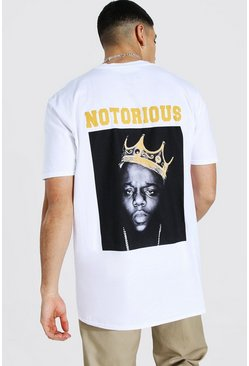 White Oversized Notorious Biggie License T-shirt