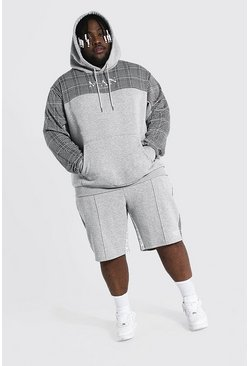 Grey marl Plus Man Roman Tape Panel Short Tracksuit