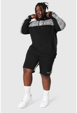 Plus Man Roman Tape Panel Short Tracksuit, Black
